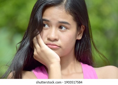 A Teenager Girl And Worry