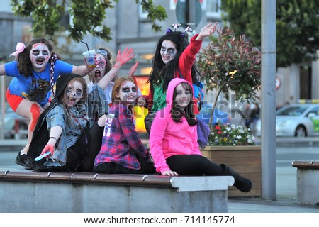 Teenager Girls Zombie Costume Sitting Bench Stock Photo Edit Now