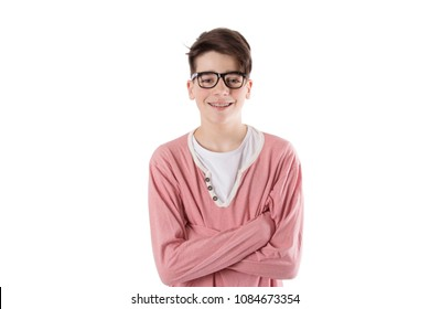 teenager with glasses and fashion braces on the white wall