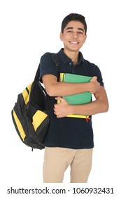 Teenager going to his school holding his backpack and his books, isolated on white background