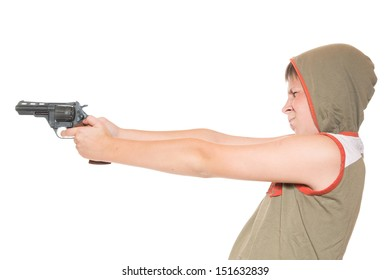 teenager with a gun on a white background