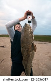 A teenager hardly lifts a big fish and shows its weight. Red Drum, Gulf of Mexico, Texas, USA
