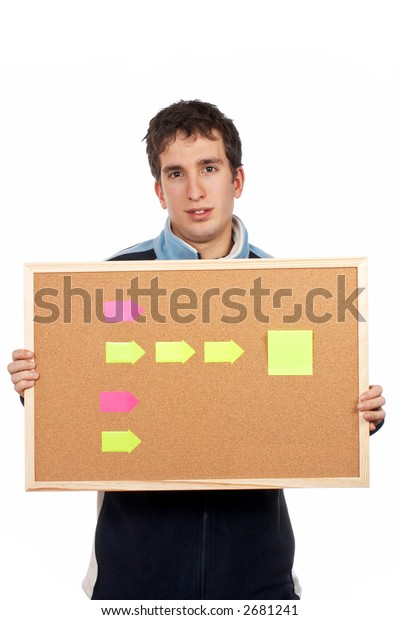 Teenager holding the corkboard with notes on white background