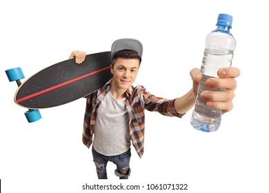 Teenager holding a longboard and a bottle of water isolated on white background