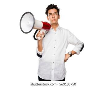 teenager holding a megaphone