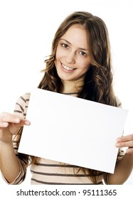 Teenager holding a piece of paper