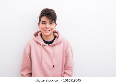 teenager in the isolated white wall