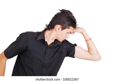 Teenager looking at his biceps
