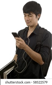 Teenager with mobile telephone