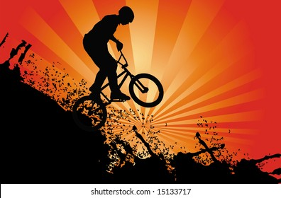 Teenager with mountain bike