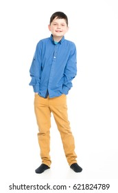 A teenager on a white background