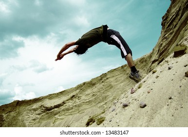 teenager performs a salto