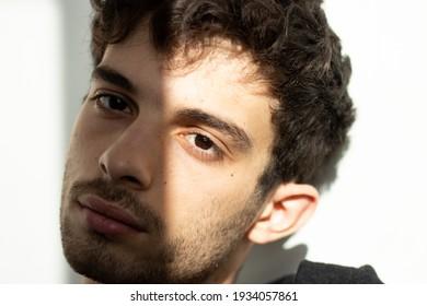 Teenager portrait shadows eye face