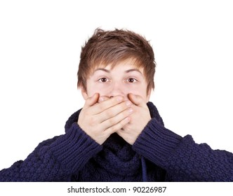 Teenager in a purple sweater shut his mouth with his hands
