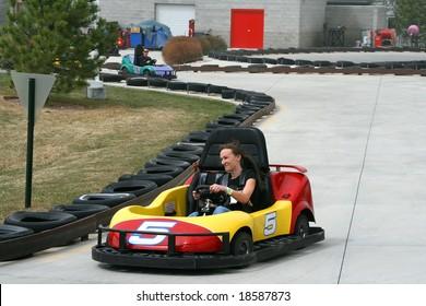 Teenager racing on the Go Cart