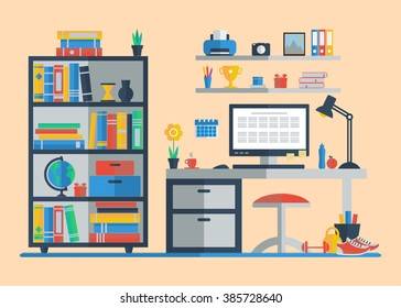 Teenager room interior with furniture icon set. Flat style illustration.