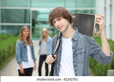 Teenager with skate-board