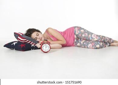 Teenager is sleeping soundly