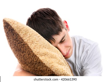 Teenager sleeps with Cushion Isolated On The White Background