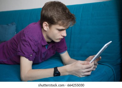 Teenager with a  tablet