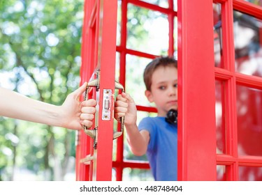 Teenager talking on the phone, the adult tries to intervene. child protects the right to privacy from parents. concept of personal life, misunderstanding between children and parents.
