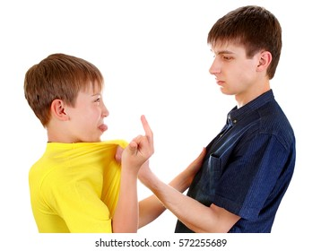 Teenager threaten a Naughty Kid Isolated on the White Background