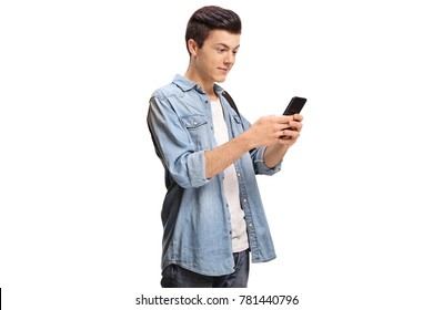 Teenager using a phone isolated on white background