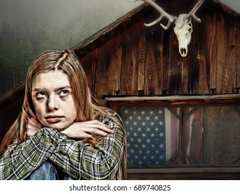 Teenager Wearing a Plaid Flannel Shirt While Seated in Front of a Rustic Cabin with an American Flag in the Window