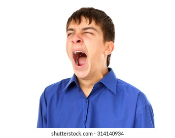 Teenager Yawning Isolated on the White Background
