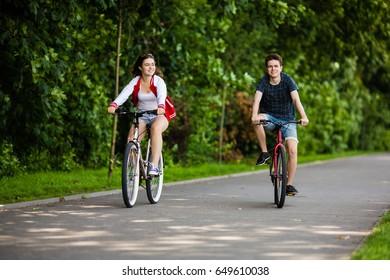 Teenagers biking outdoor - urban bike