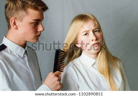 Teenagers Brother Sister Relationship Between People Stock Photo
