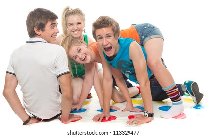 Teenagers cheerfully play