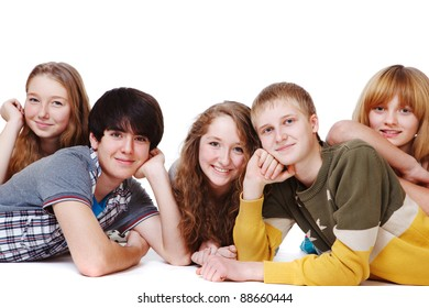 Teenagers group smiling, over white