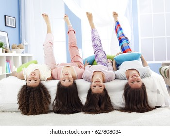 Teenagers having fun on slumber party.