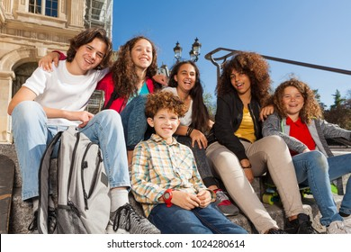 Teenagers having fun outdoors on staircase