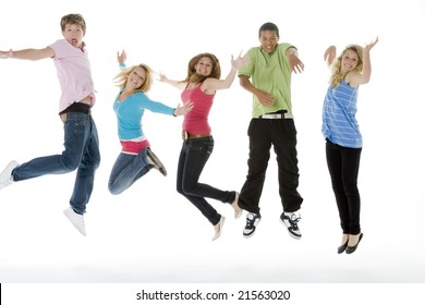 Teenagers Jumping In The Air