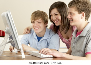 Teenagers on Computer at Home