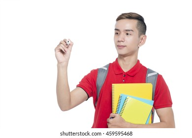 Teenagers are pretending to hold a pen writing on a white background.