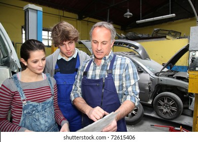 Teenagers in professional training with garage woner