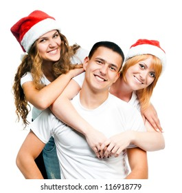 teenagers in Santa hat isolated on white