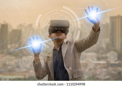 Teenagers are wearing virtual headset