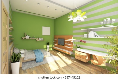 Teen's Room With Colored Wall 3d Rendering