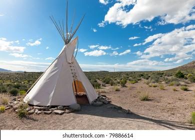 Teepee in american prairie near Grand Canyon Skywalk build by Hulapai tribe