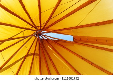 teepee indian tent. Detail from the inside.