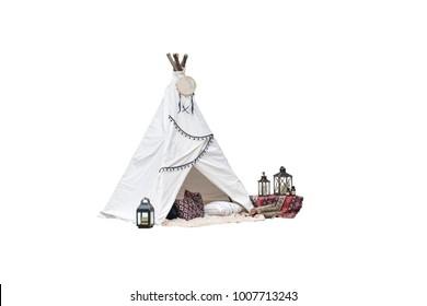 teepee tent on white background. bohemian fashion.