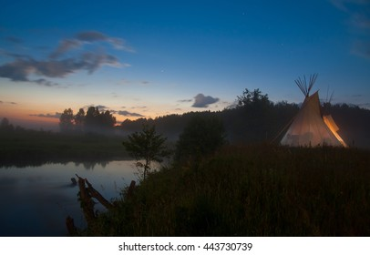 Teepee wigwam night