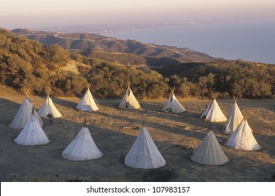 Teepees in a circle in Malibu, CA