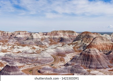 The Teepees are a formation which is part of the Blue Mesa Member in the Chinle Formation.They are located in the Petrified Forest National Park,Arizona which is called the Painted Desert.