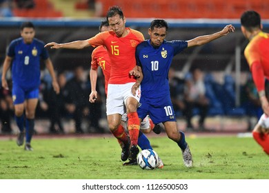 Teerasil Dangda No.10 (blue) of Thailand in action during 2018The International Friendly Match between Thailand and China at the Rajamangala Stadium on June 2, 2018 in Bangkok,Thailand,