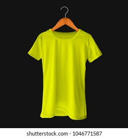 Tees with hanger mockup template yellow